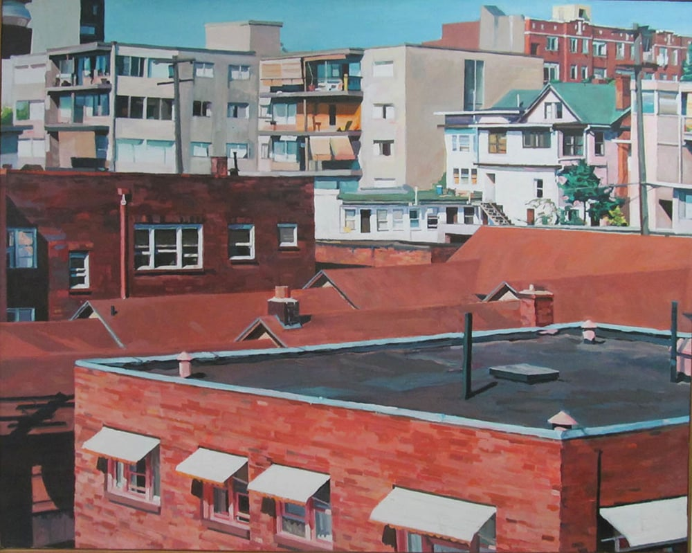 "Rooftops, acrylic on canvas, 41 1/2"" x 52"""
