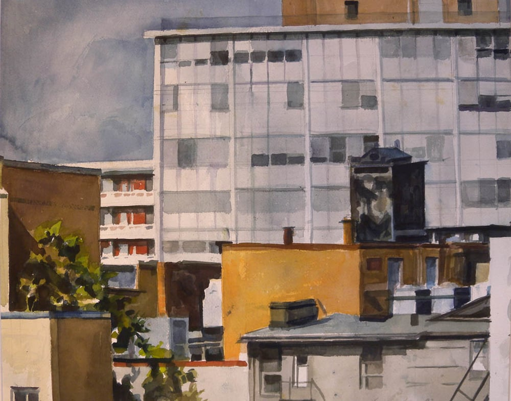 "Rooftops & Office Buildings, watercolor on paper, 16"" x 20"", 1993 On Exhibit, Addison/Ripley Fine Art, DC"