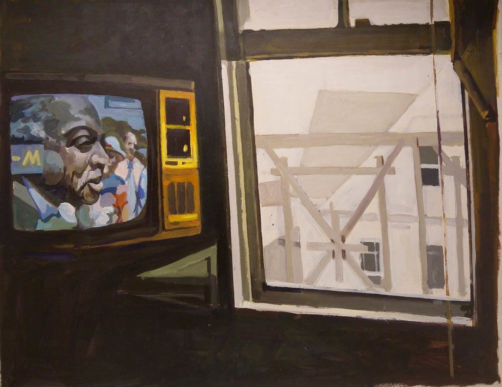 "MLK on TV, Motel Room, acrylic on paper, 30 1/2"" x 39"", 1984"