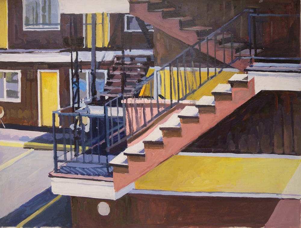"Motel/Stairs, acrylic on paper, 29"" x 38 1/2"""
