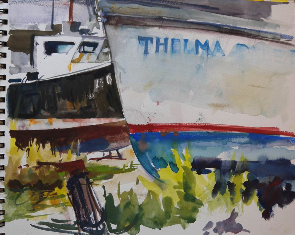 "Thelma Dale, watercolor on paper in sketch book, 11"" x 13 1/2"""