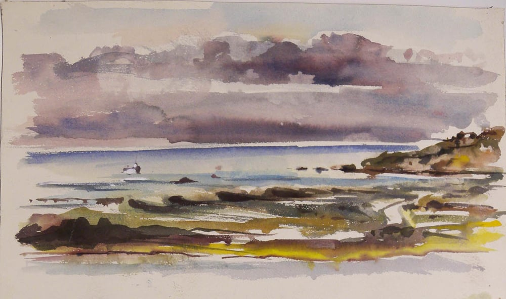 "Storm Sky, Martha's Vineyard, watercolor on paper, 10"" x 17 1/2"""