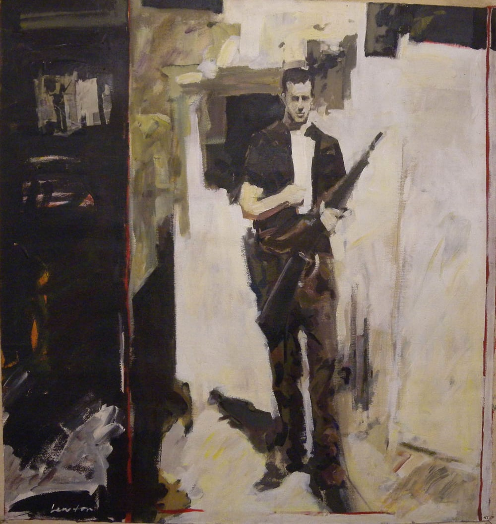 "Lee Harvey Oswald, acrylic on canvas, 44"" x 41 1/2"""