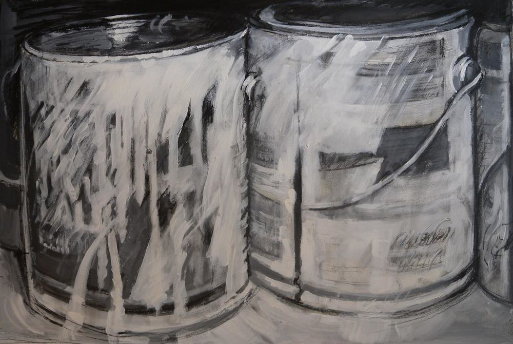 "Paint Cans in Black & White, acrylic on paper, 21 1/2"" x 29"", 2007 Private Collection, On Exhibit, AU Katzen Center, DC"