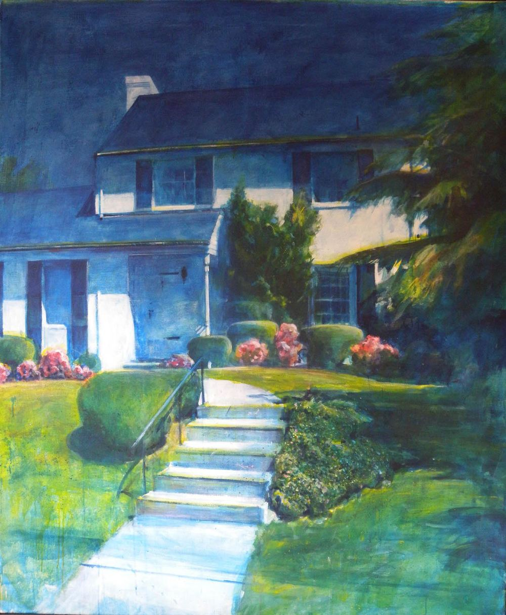 Suburban Idyll, stained canvas, 5' x 5', 1970