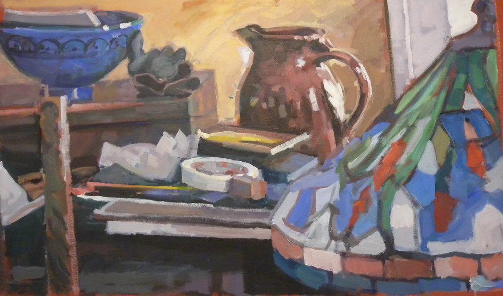 "Still Life with Pitchers & Lamp, acrylic on canvas, 27""x 46"""
