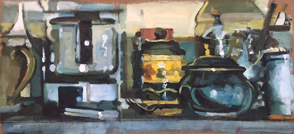 "Still life with Coffee Maker, acrylic on linen, 13"" x 29 1/2"""