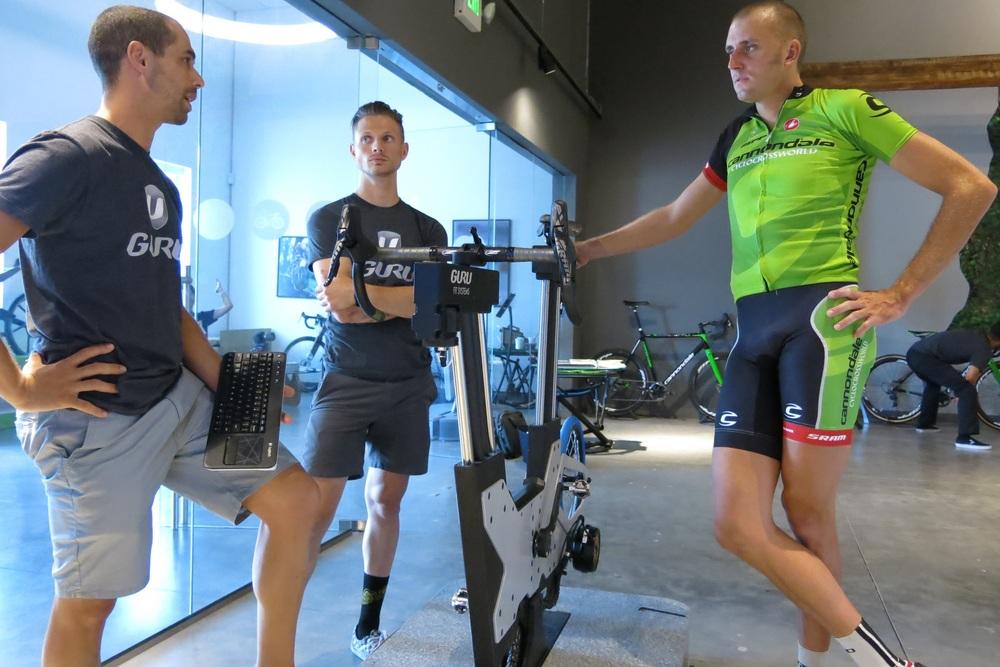 Ryan Trebon talking bike fit with ACME. (c)Guru