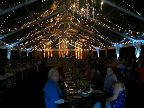 The beautiful family style dinner under a tent at Cheekwood.