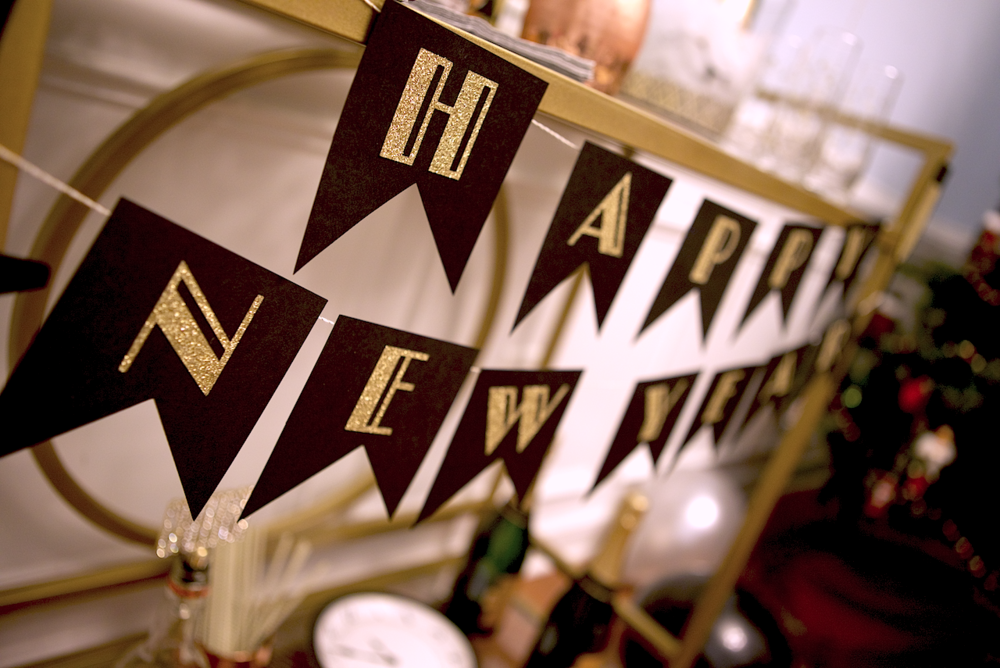 """Art deco """"Happy New Year"""" banner made by me!"""
