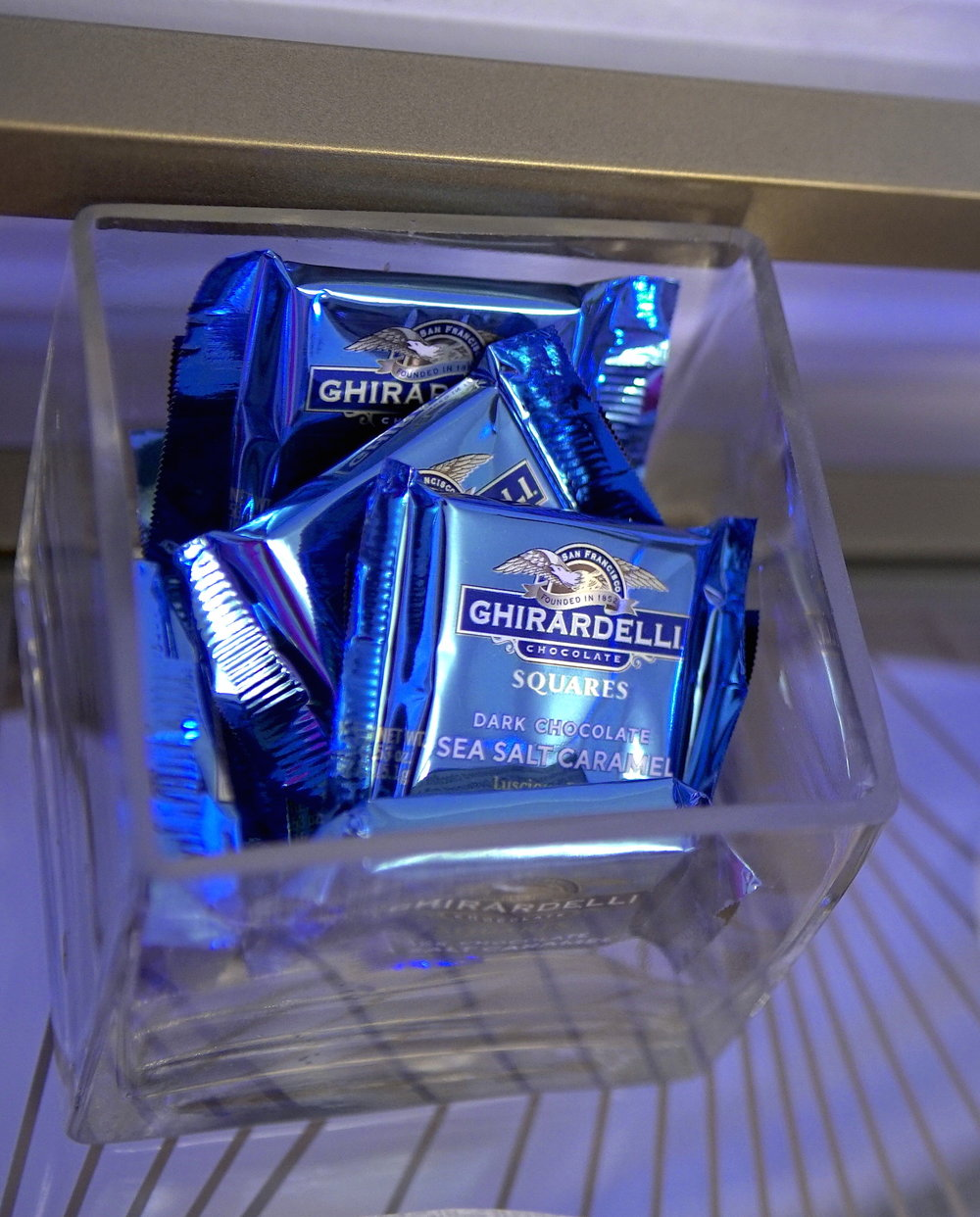 These dark chocolate and sea salt caramel Ghirardelli squares were a perfect addition to this month's bar cart.