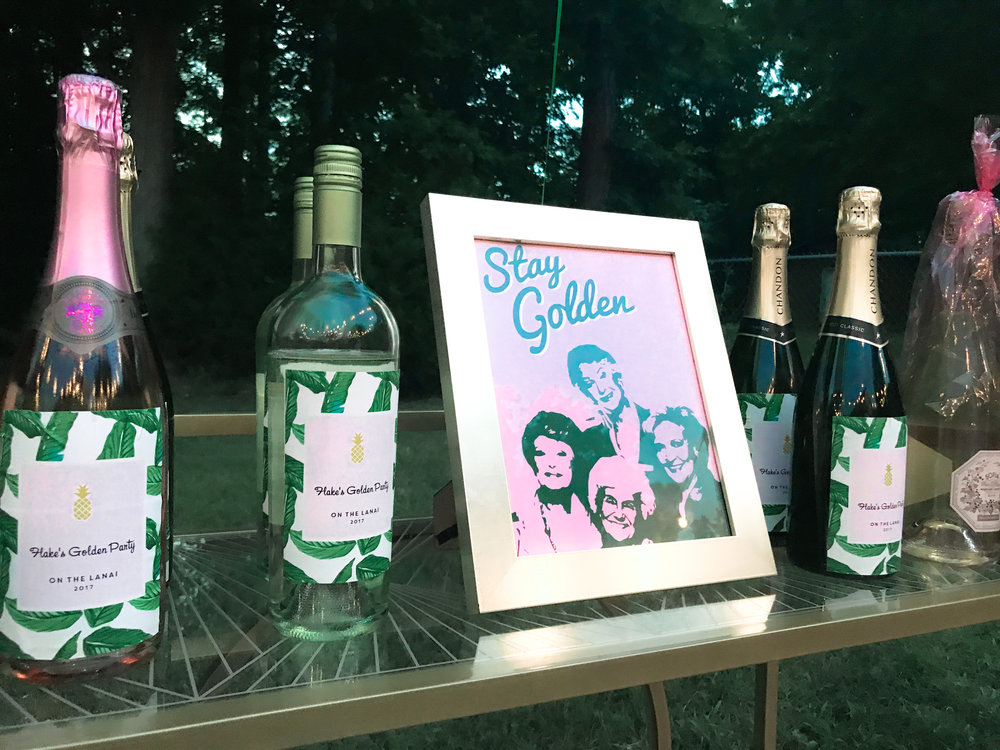 The wine bottle labels are from HHPaperCoand the Stay Golden printable is from ClaresPrintables (both are Etsy shops). I put the printable in a frame from Michael's and I can't wait to use it on a gallery wall in my office!