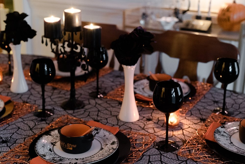 The black wine glasses from World Market are my favorite Halloween drinkware!