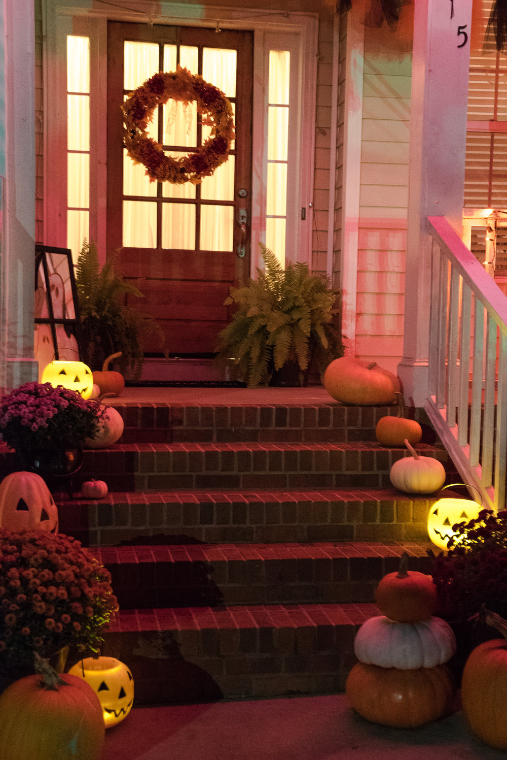 The Grandin Road strobe lights in action! Pumpkin buckets are $1 and budget friendly!