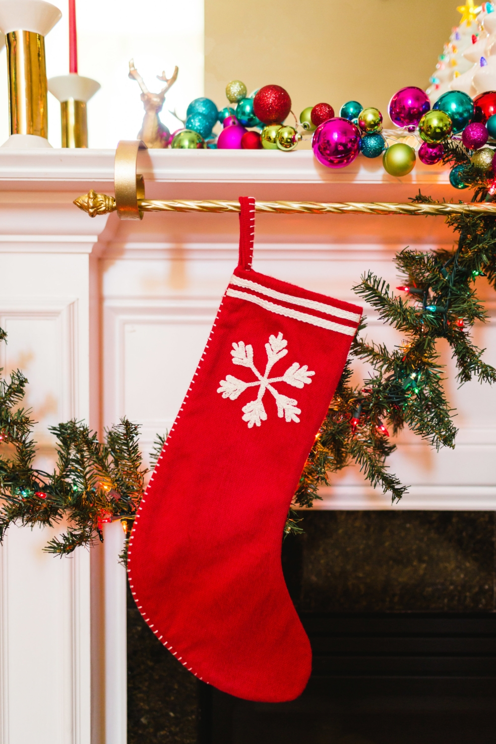 These  stockings  from Target are so cute! And the  gorgeous stocking holder  from Kirklands that I love so much!