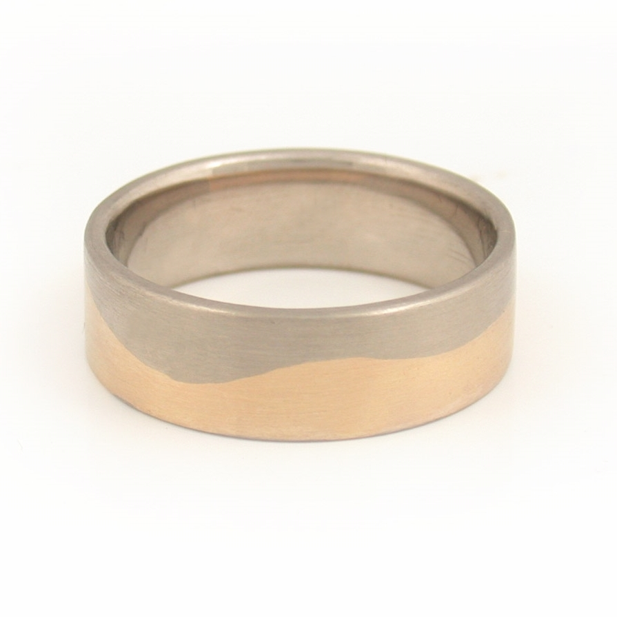 Mixed Metal Marble Wedding Band