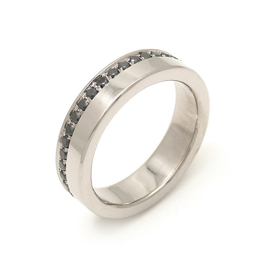 Asymmetric Black Diamond Eternity Band