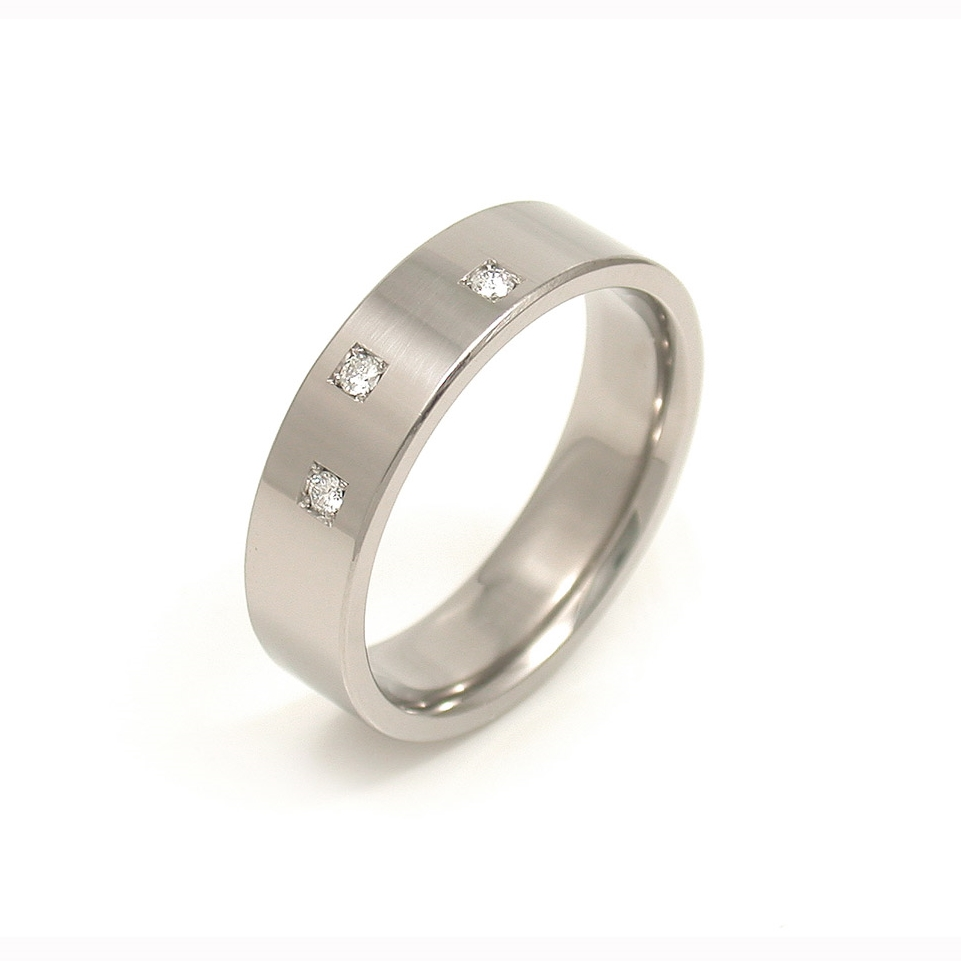Titanium 3-Stone Diamond Wedding Band