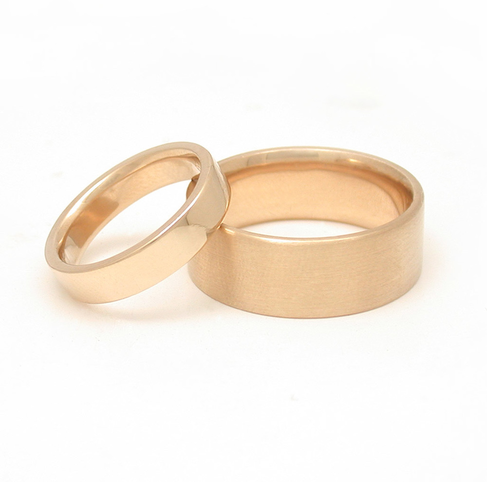 Modern Flat Wedding Bands