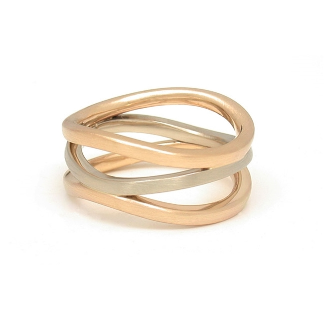 Mixed Metal Triple Wave Ring