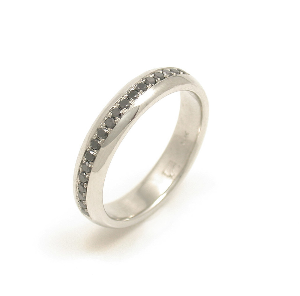 Rounded Pave Black Diamond Eternity Band
