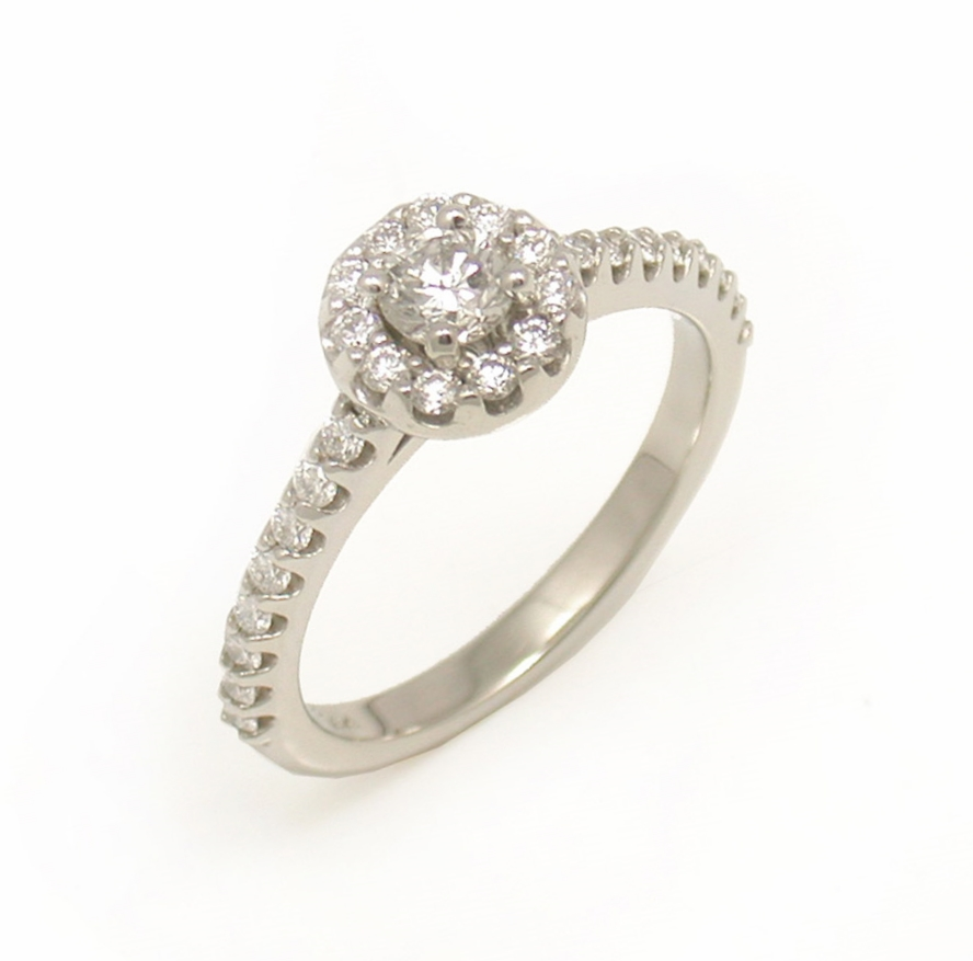 Diamond Halo Ring - Shared Prong