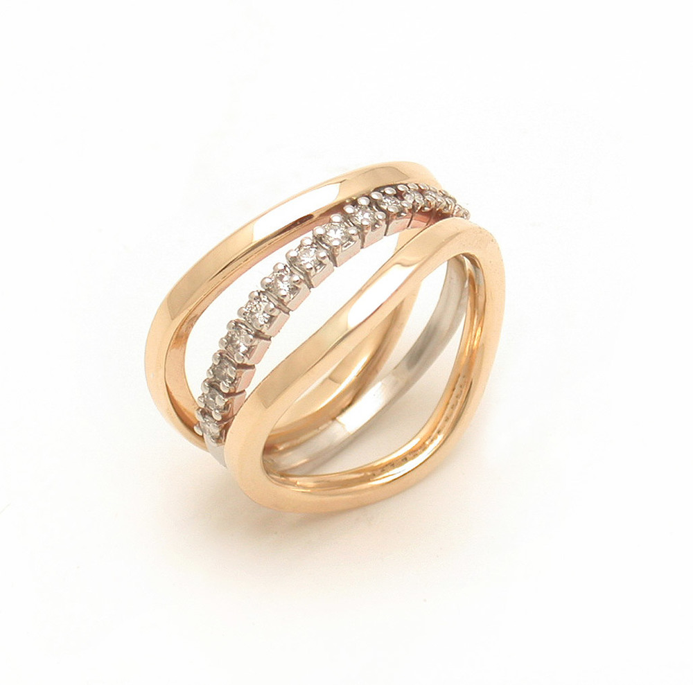 Mixed Metal Pave Triple Wave Ring