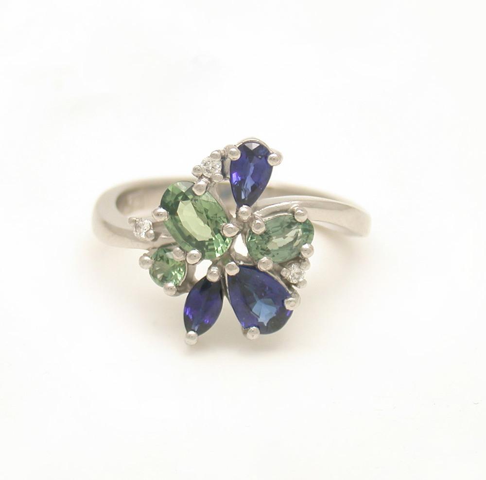Cluster Sapphire Diamond Ring