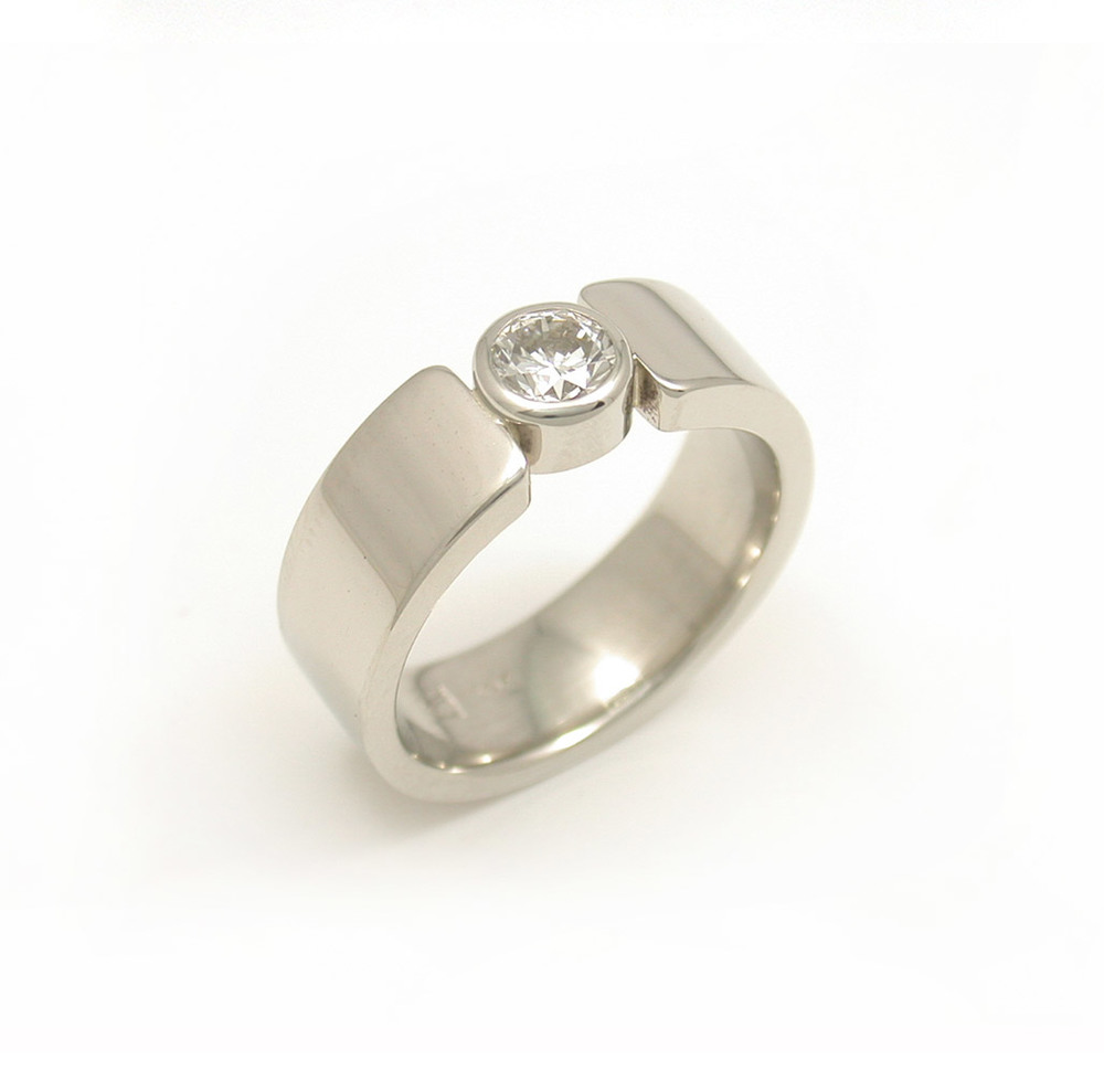Wide Band Bezel Diamond Ring