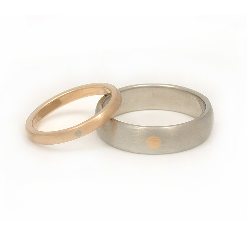 Mixed Metal Circle Wedding Bands