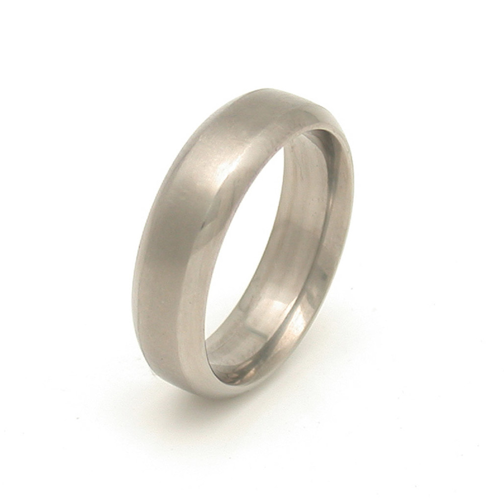Titanium Round Edge Wedding Band