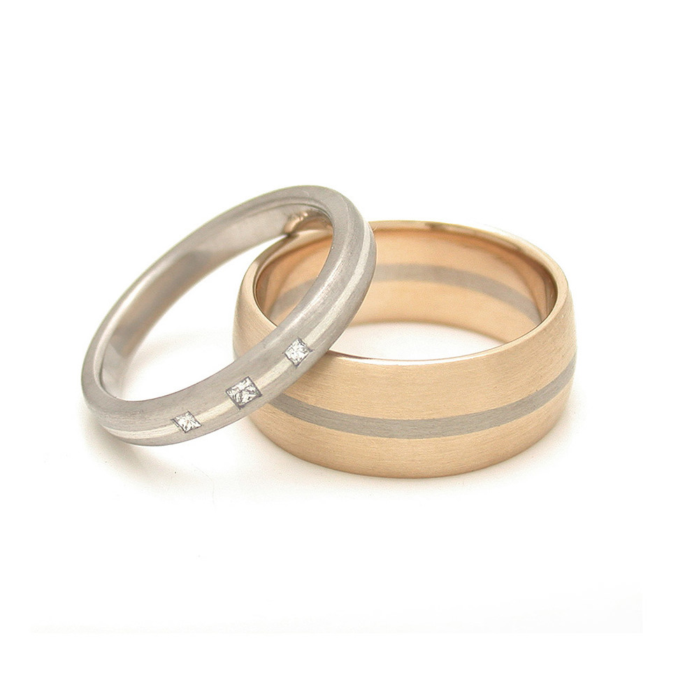 Symmetric Mixed Metal Rounded Wedding Bands