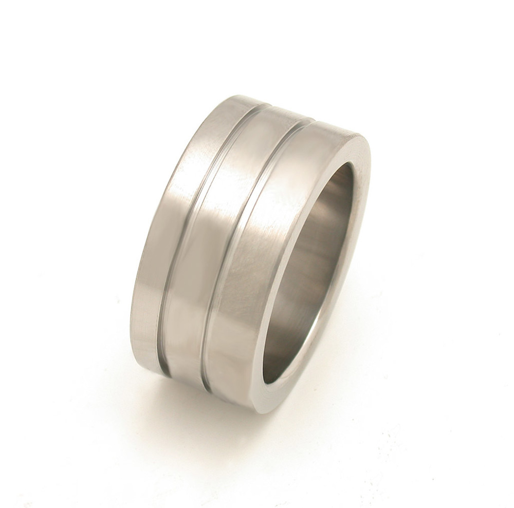 Asymmetric Wide Grooved Wedding Band