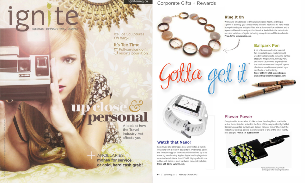 IGNITE Magazine - FEB/MAR 2012 - 'Gotta Get It' - Kim's Agate Rings Necklace was featured.
