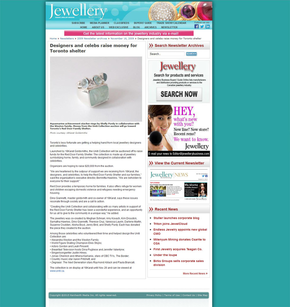 JEWELLERY BUSINESS MAGAZINE - Nov. 2009 - Red Door Charity work.