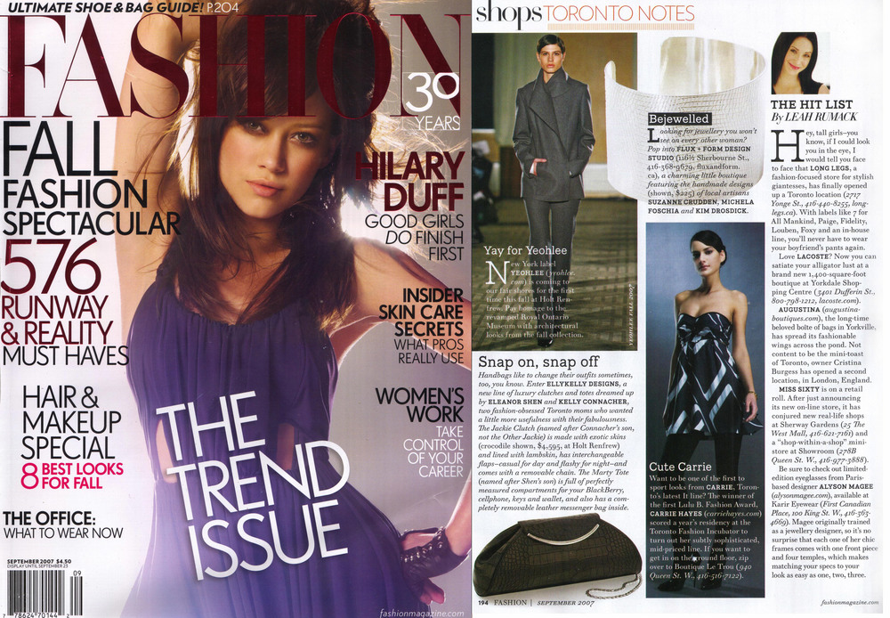 FASHION Magazine - September 2007 - Newly opened flux + form gets a shout out and Kim's Skin Cuff Bracelet gets a mention too.