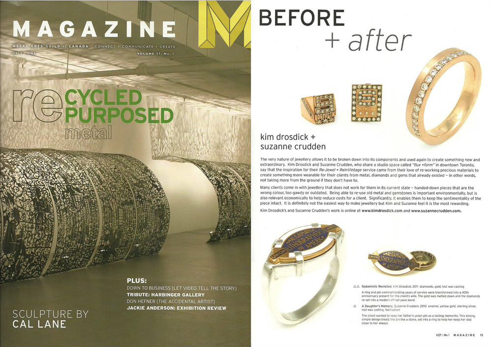 MAGAZINE - 2012, Volume 27, Issue 1 - Re-Cycled, Re-Purposed, Kim is featured for her success with re-working old materials to create new jewellery.