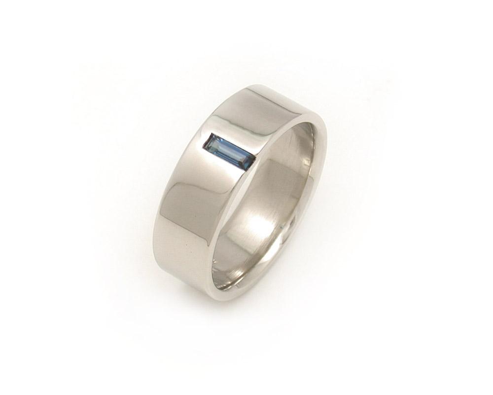Baguette Sapphire Wedding Ring