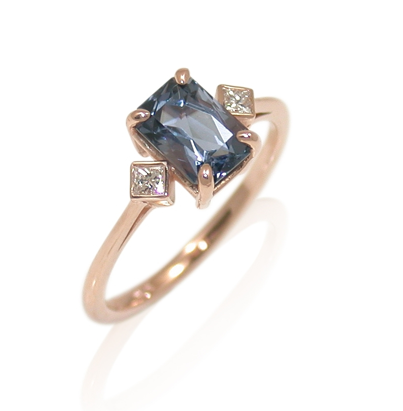 blue-spinel-emerald-cut-rose-gold-custom-handmade-engagement-ring