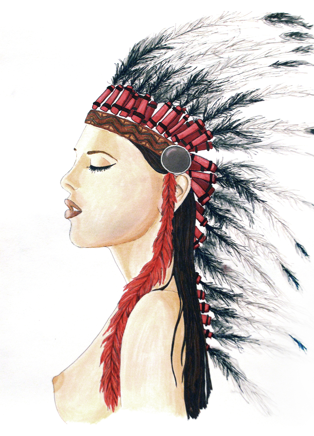 NATIVE AMERICAN Markers on paper A3