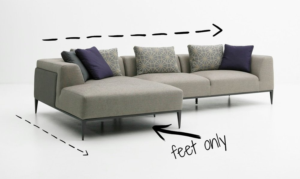 """*sofa with chaise Sectional with Return:Similar to a chaise, but different; a return piece is an L-shaped extension that also has an arm running about half way down with a """"bumper"""" (basically an attached ottoman) on the end."""