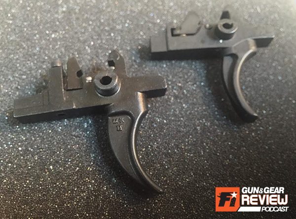 Comparing the M-K IIA2 trigger (left) and the Rock River Arms two stage trigger (right) you can see the RRA disconnector is preset and not adjustable.
