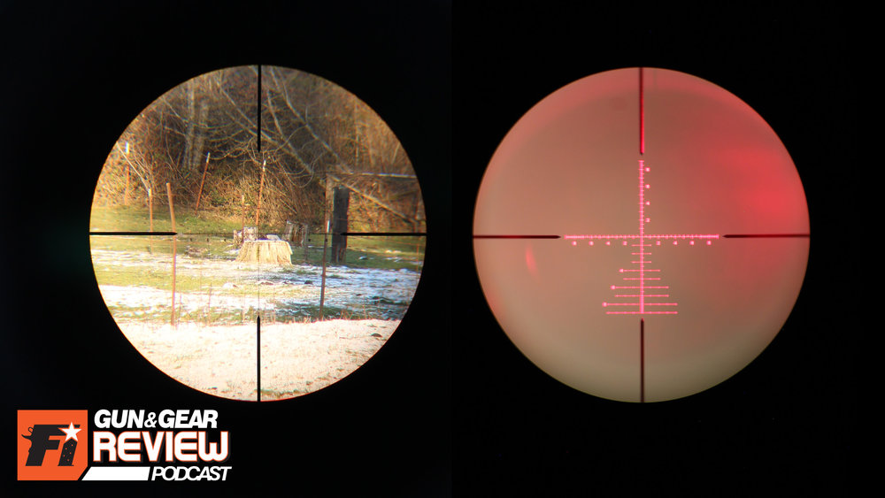 The lowest magnification setting, 8x power on a 200 yard stump (left) and illuminated (right)