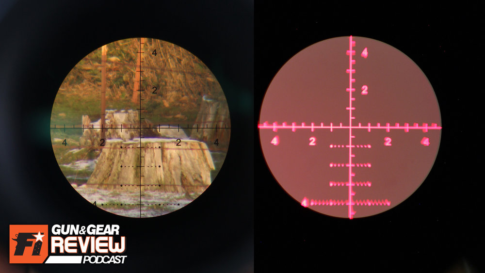 34x power on a 200 yard stump (left) and illuminated (right). The First Focal Plane causes the reticle to crop in to 9 MILS across.