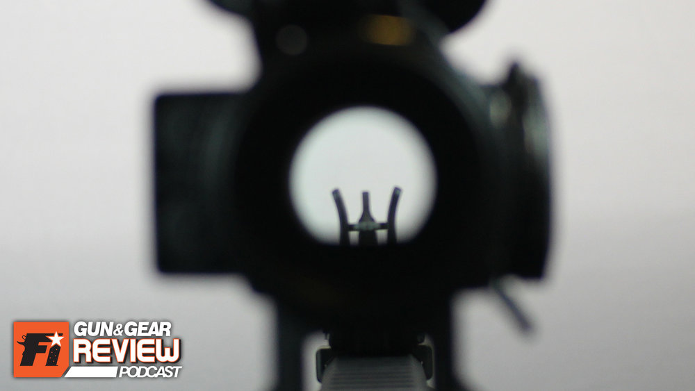 The inline configuration of the M² Sights has the traditional M16 sight picture, except for the partially exposed threads of A2 front sight post. -