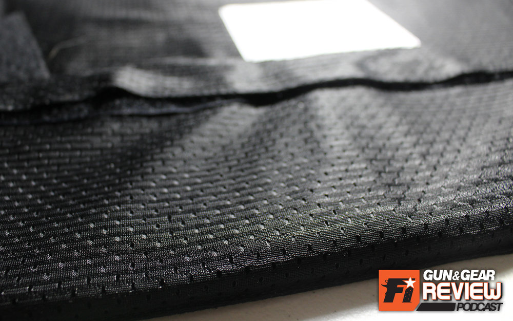 The CoolMax material is a soft mesh, designed to ventilate and keep the body from overheating.