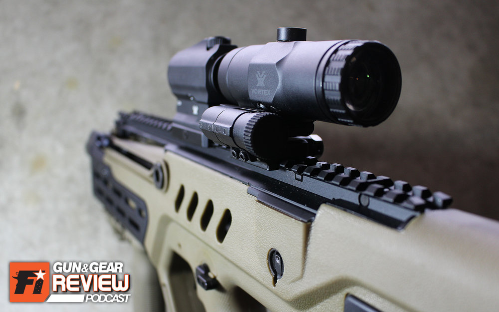 The magnifier + red dot combo is especially at home on a rifle with a large flat top rail, like my SAR-21 Tavor Bullpup.