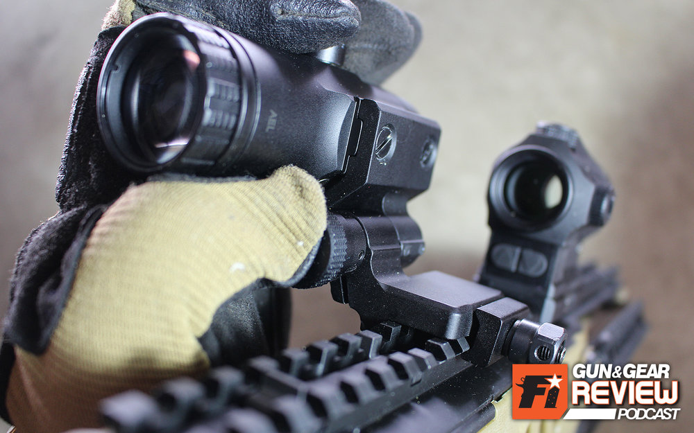The button release on the VMX-3T is easy to actuate even with gloved hands. Just grab the scope, press the button in with your thumb and pivot to the side.