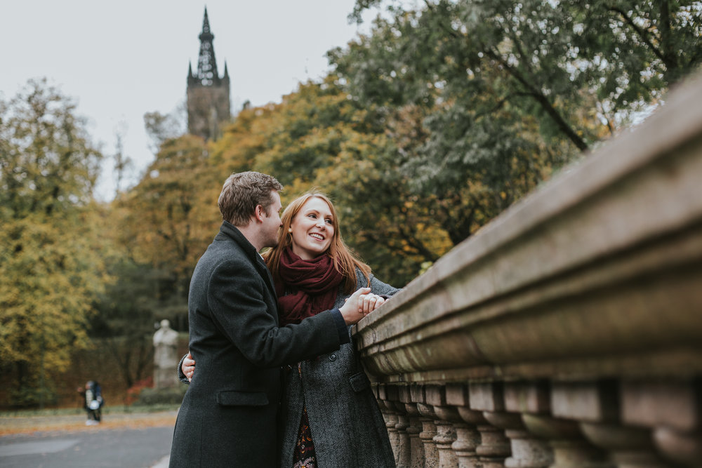 documentary wedding photography scotland, natural style wedding photography glasgow, engagement in kelvingrove park, kelvingrove park engagement session, autumnal engagement session