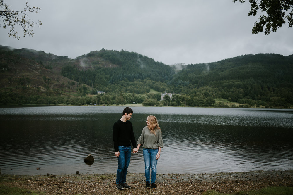 Couple portrait at the water, Trossachs.